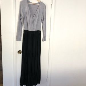 Anthropologie gray and black long pleated dress